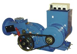 This variable-flow, crossflow turbine uses a belt-drive coupling to a 40 KW synchronous generator. It supplies electricity to a coffee processing plant in Panama.