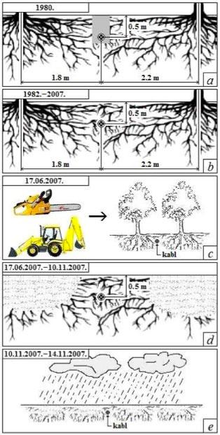Slika 2. Hronološki prikaz radova i uslova koji su prethodili nastanku kvara na podzemnom 0.4 kV-nom kablovskom vodu. a) polaganje kabla; b) ambijentni uslovi u zemljištu tokom perioda eksploatacije kabla bez oštećenja izolacije; c) radovi na uklanjanju vegetacije: sečenje stabala, vađenje panjeva i izravnanje terena; d) ambijentni uslovi u zemljištu tokom perioda eksploatacije kabla sa oštećenjem izolacije; e) periodične padavine.