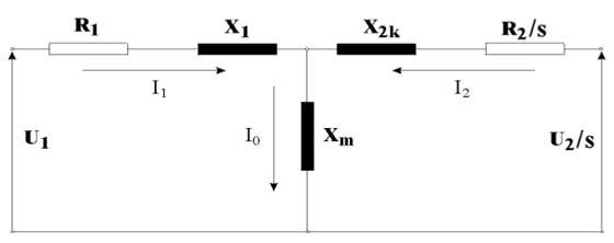 Slika 5. Ekvivalentna šema dvostrano napajanog asinhronog motora